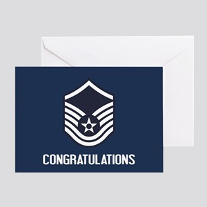 USAF MSgt - Congratulations (Blue) Greeting Card