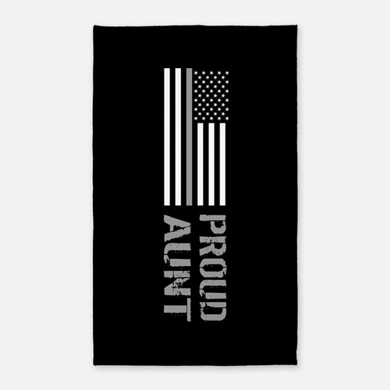 U.S. Flag Grey Line: Proud Aunt (Black) Area Rug