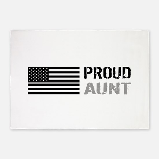 U.S. Flag Grey Line: Proud Aunt (Wh 5'x7'Area Rug