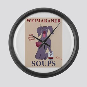 Weimaraner Soups Large Wall Clock