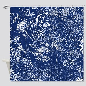 Cow Parsley Cyanotype Style Shower Curtain