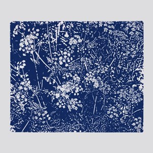 Cow Parsley Cyanotype Style Throw Blanket