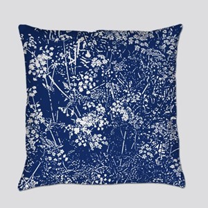Cow Parsley Cyanotype Style Everyday Pillow