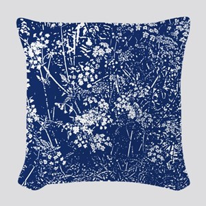 Cow Parsley Cyanotype Style Woven Throw Pillow