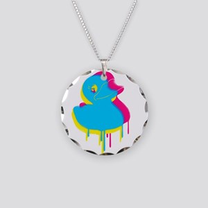 Rubber Duck Graffiti Ducky Necklace Circle Charm