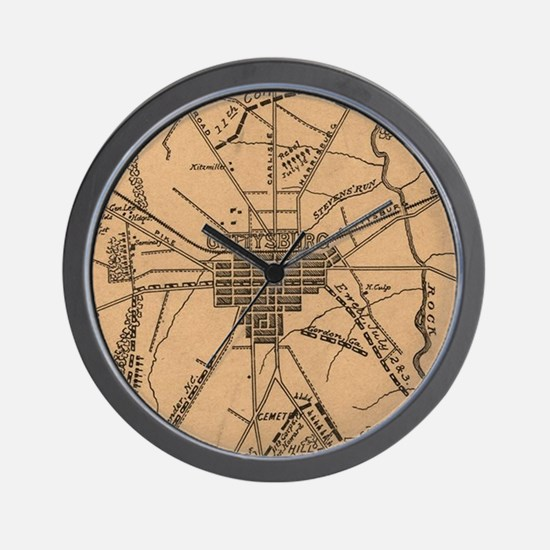 Vintage Map of The Gettysburg Battlefie Wall Clock
