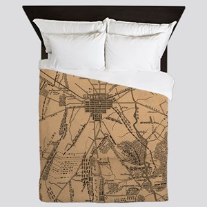 Vintage Map of The Gettysburg Battlefi Queen Duvet