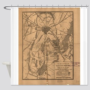 Vintage Map of The Gettysburg Battl Shower Curtain
