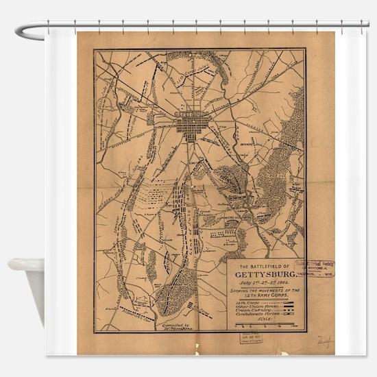 Vintage Map of The Gettysburg Battl Shower Curtain