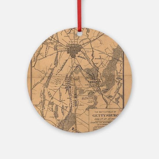 Vintage Map of The Gettysburg Battl Round Ornament