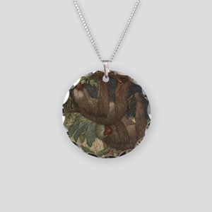Vintage Sloth Painting (1909 Necklace Circle Charm