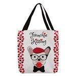 Frenchie Kissing Polyester Tote Bag