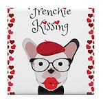 Frenchie Kissing Tile Coaster