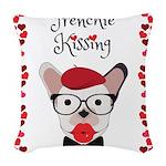 Frenchie Kissing Woven Throw Pillow