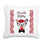 Frenchie Kissing Square Canvas Pillow