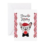 Frenchie Kissing Greeting Cards