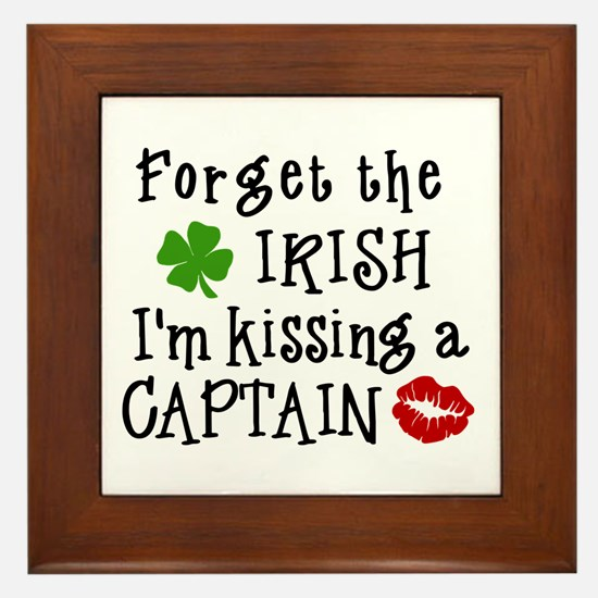 Kissing a Captain Framed Tile