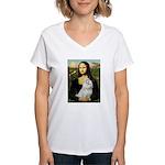 Mona Lisa / Maltese Women's V-Neck T-Shirt