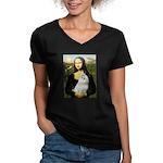 Mona Lisa / Maltese Women's V-Neck Dark T-Shirt