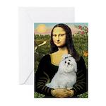 Mona Lisa / Maltese Greeting Cards (Pk of 20)