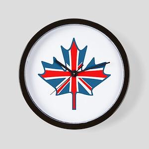 Union Jack Maple Leaf Wall Clock