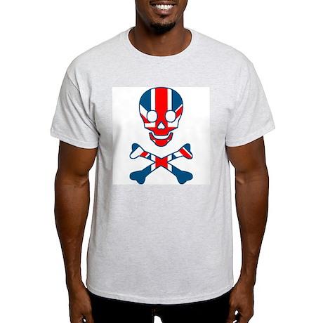 Union Jack Skull & Cross Bones Ash Grey T-Shirt