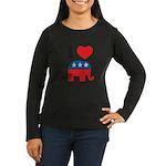 I Heart Republicans Women's Long Sleeve Dark T-Shi