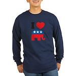 I Heart Republicans Long Sleeve Dark T-Shirt