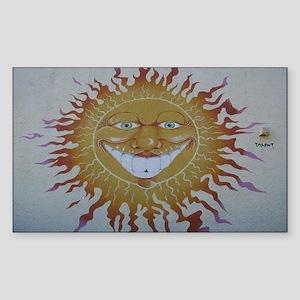 Crazy Sun Smiley Face Rectangle Sticker