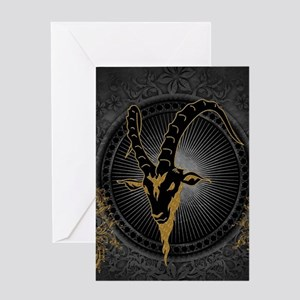 Billygoat in gold and black, awesome skull Greetin