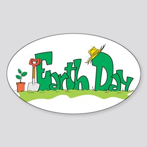 Earth Day V Oval Sticker