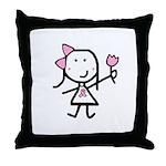 Girl & Pink Ribbon Throw Pillow
