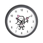 Girl & Pink Ribbon Wall Clock