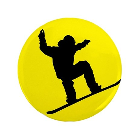 """Yellow Snowboarder 3.5"""" Button (100 pack)"""