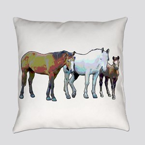 Horse Family Everyday Pillow