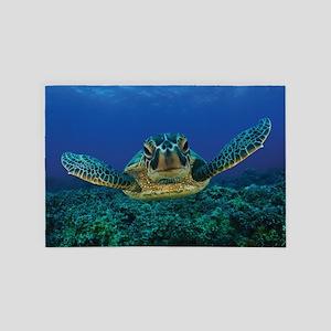 Turtle Swimming 4' x 6' Rug