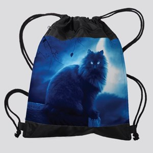 Black Cat In The Night Drawstring Bag