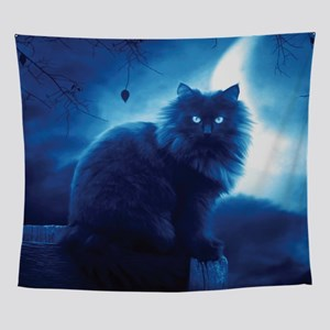 Black Cat In The Night Wall Tapestry