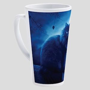 Black Cat In The Night 17 oz Latte Mug