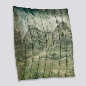 Rustic Country Wood Mountains Burlap Throw Pillow