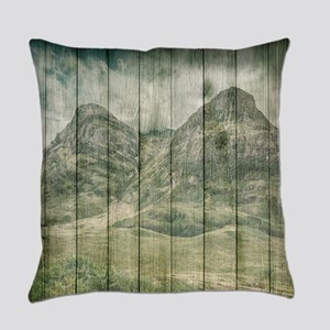 Rustic Country Wood Mountains Land Everyday Pillow