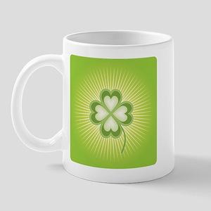 Retro Good Luck 4 Leaf Clover Ceramic Coffee Mug