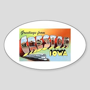 Creston Iowa Greetings Oval Sticker