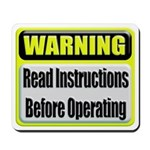 Read Instructions First Mousepad