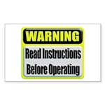 Read Instructions First Rectangular Sticker