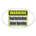 Read Instructions First Oval Sticker