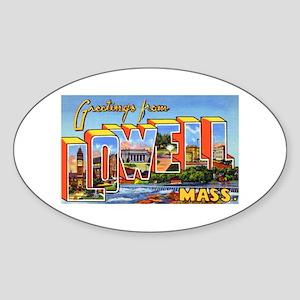 Lowell Massachusetts Greetings Oval Sticker