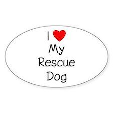 I Love My Rescue Dog Sticker (Oval)
