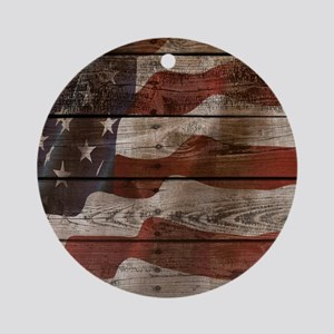 American Flag Wood Boards Round Ornament