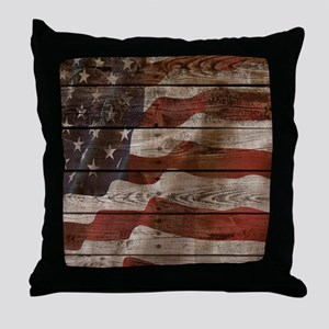 American Flag Wood Boards Throw Pillow